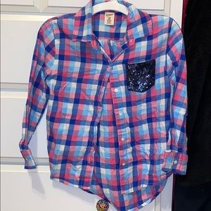 Shirt navy and blue and pink plaid